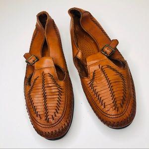 Dexter Soft Woven Leather T-Strap Moccasins 10 M